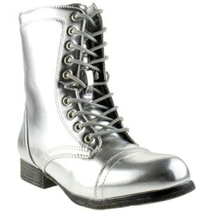 BAMBOO Surprise Silver Shine Combat Boots 7